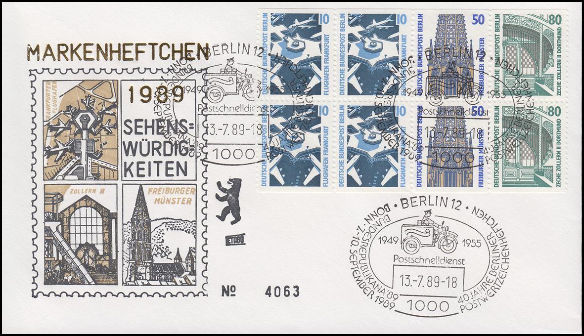 HBl. 22 aus MH 14 SWK 1989 auf Schmuck-FDC Sehenswürdigkeiten Berlin 13.7.89 0