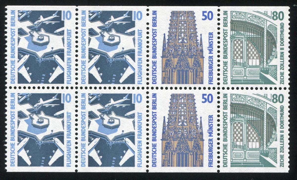 HBl. 22 aus MH 14 SWK 1989 mit PLF I Ausbuchtung (798II), Feld 2, ** 1