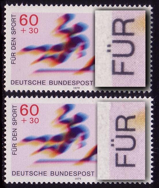 1009 Sporthilfe 60 Pf - PV der schwarz nach links: Ü-Striche im weißen Rand ** 0