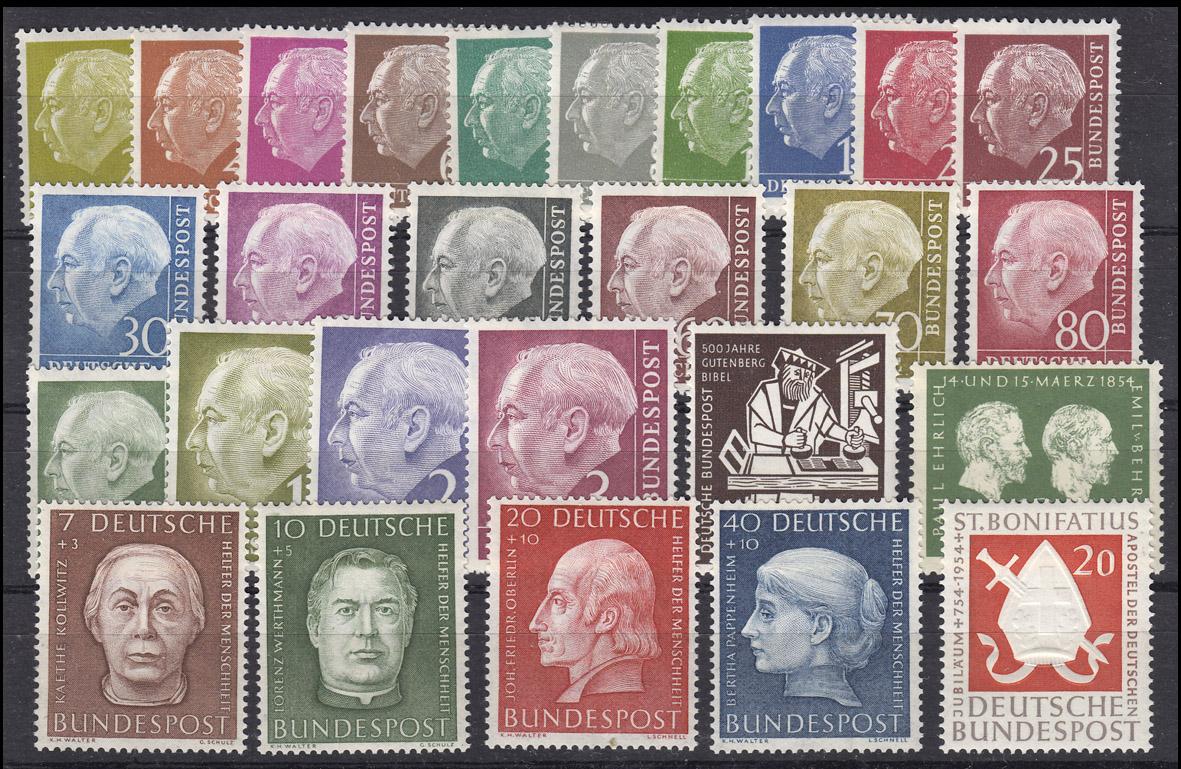 177-203 Bund-Jahrgang 1954 komplett, ohne y, postfrisch ** 0