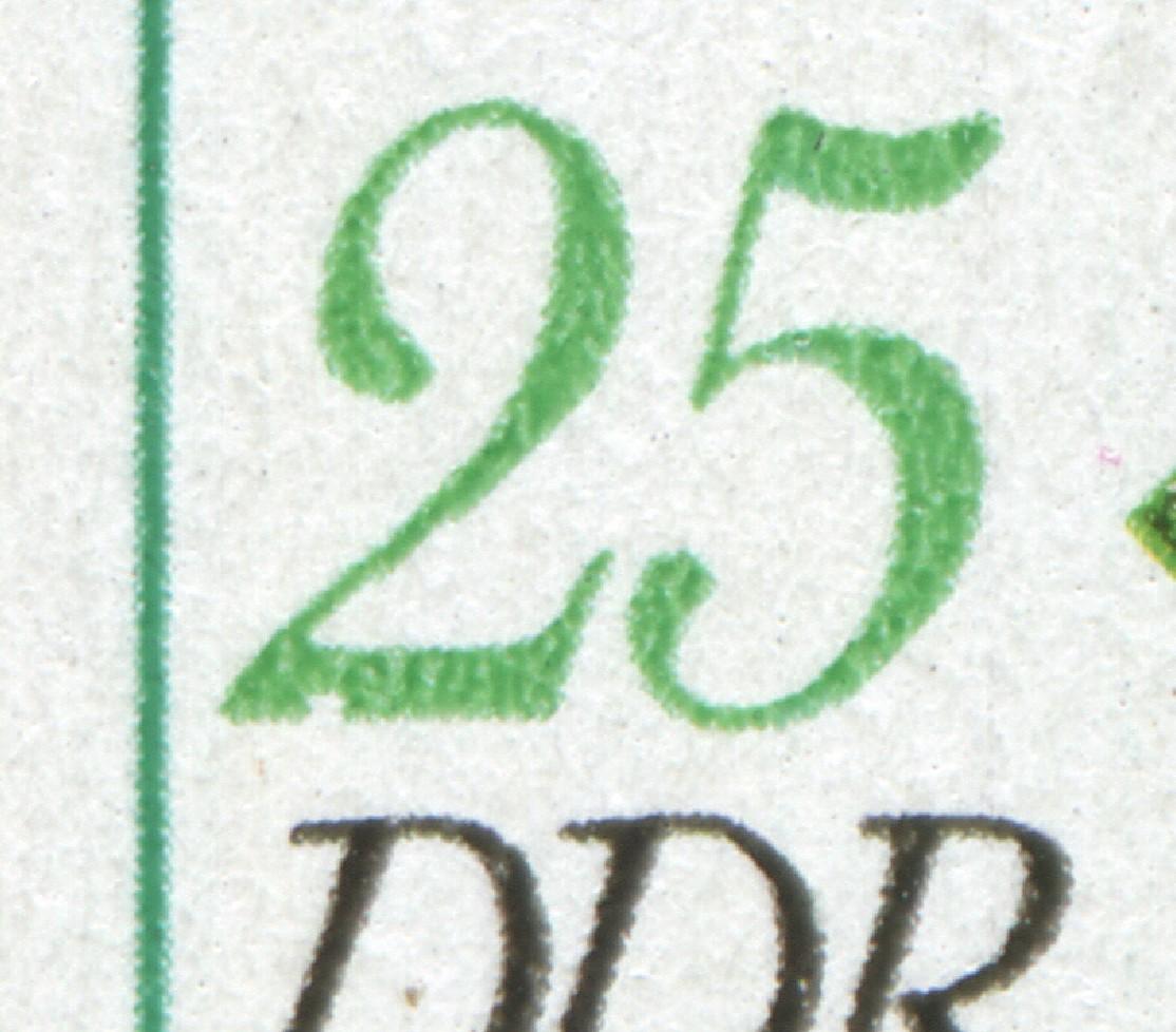 2290 Arzneipflanze 25 Pf: Kerbe unten in der 2 bei der 25, Feld 3 ** 0