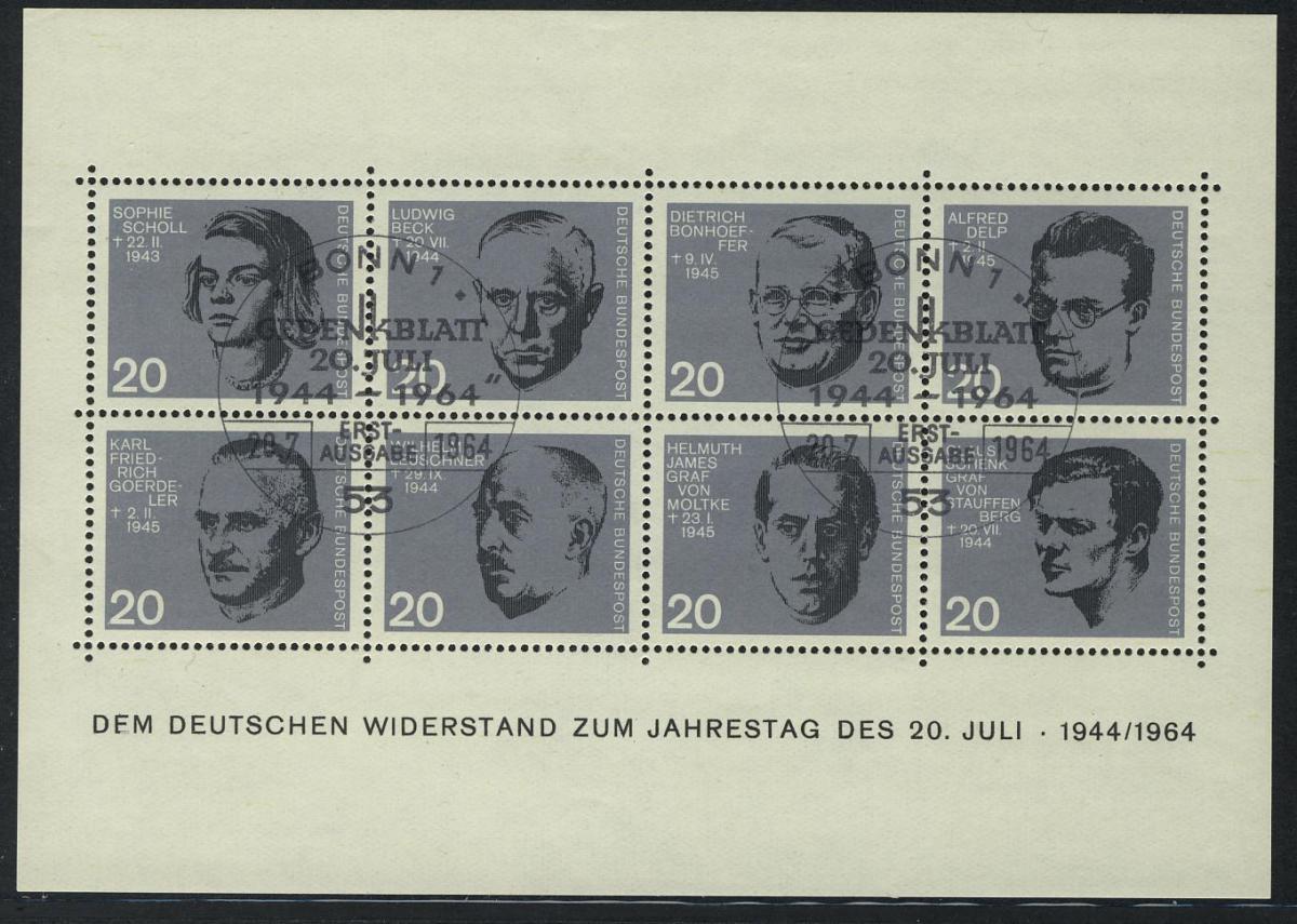 Block 3 Widerstand 20. Juli 1944, Ersttagssonderstempel ESSt Bonn 0