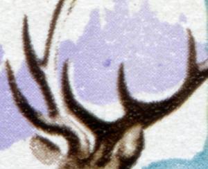 2271 Jagdwesen Hirsch 15 Pf: violetter Fleck über Geweihspitze, Feld 49, **