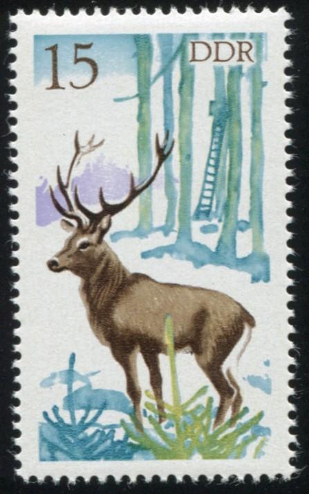 2271 Jagdwesen Hirsch 15 Pf: blauer Fleck im Baumstamm, Feld 41, ** 1