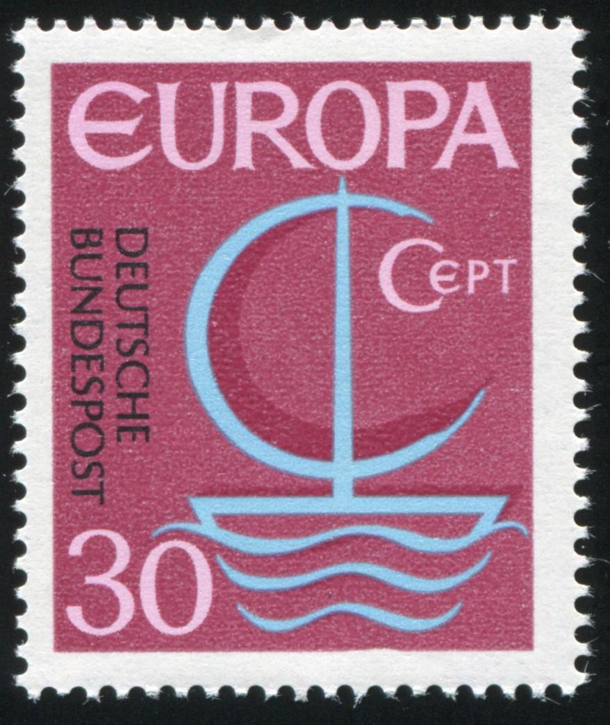 520I Europa 30 Pf - PLF I - Delle unten im Markenrand, Feld 49 ** 1