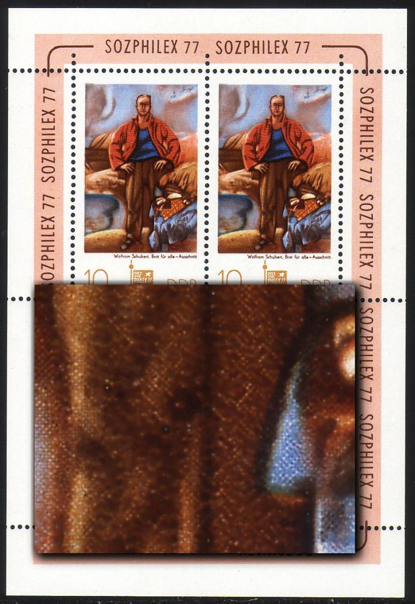 2247 SOZPHILEX-Kleinbogen 10 Pf mit PLF Hosenbeinfleck dunkel, Feld 2 ** 0