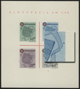 Block 1 Württemberg Rotes Kreuz Type V (*) original wie verausgabt