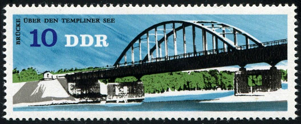 2163 Brücke 10 Pf: unten verdickes R in DDR, Feld 15 ** 1
