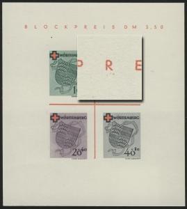 Block 1 Württemberg Rotes Kreuz Type IV (*) original wie verausgabt