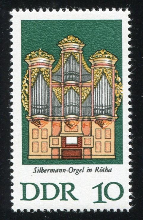 2111 Silbermann-Orgel 10 Pf. mit PLF: R in Rötha oben gebrochen, Feld 31 ** 1