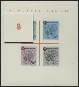 Block 1 RLPfalz Rotes Kreuz Type I/V (*) original wie verausgabt