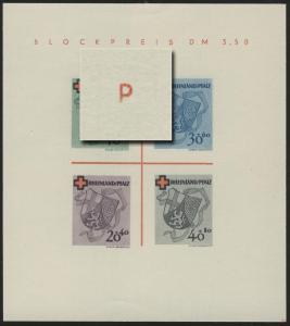 Block 1 RLPfalz Rotes Kreuz Type II/IV (*) original wie verausgabt
