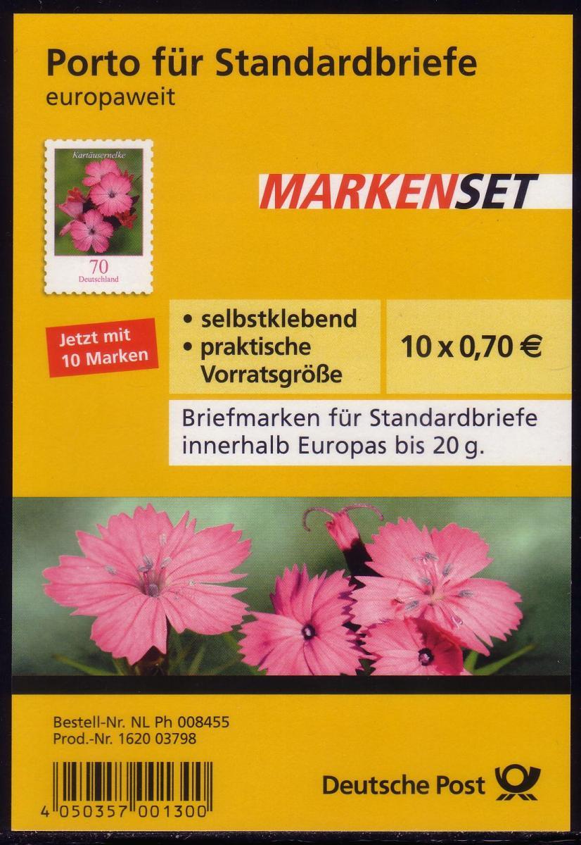 FB 8 Kartäusernelke 2010, Folienblatt 10x2716, ** 0