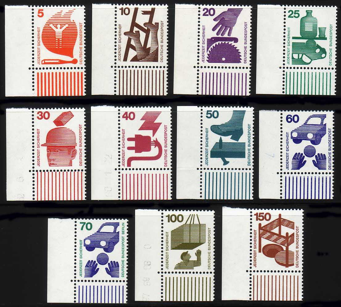 694 ff Unfall 11 Werte, Satz Ecke unten links, ** 0