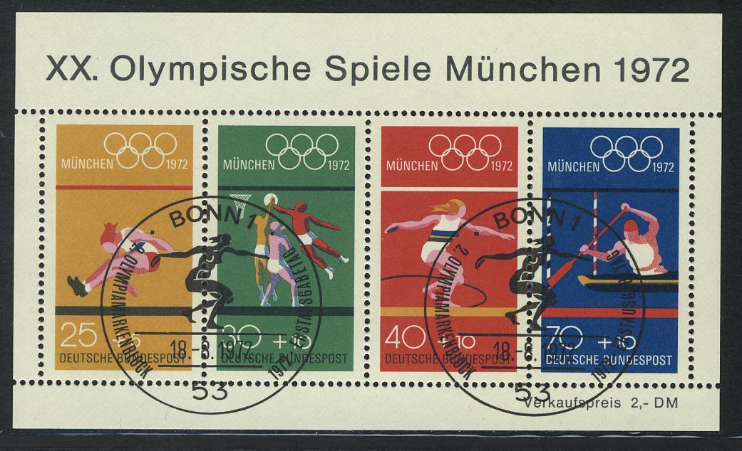 Block 8 Olympiade München - Sportarten 1972 mit ESSt Bonn 0