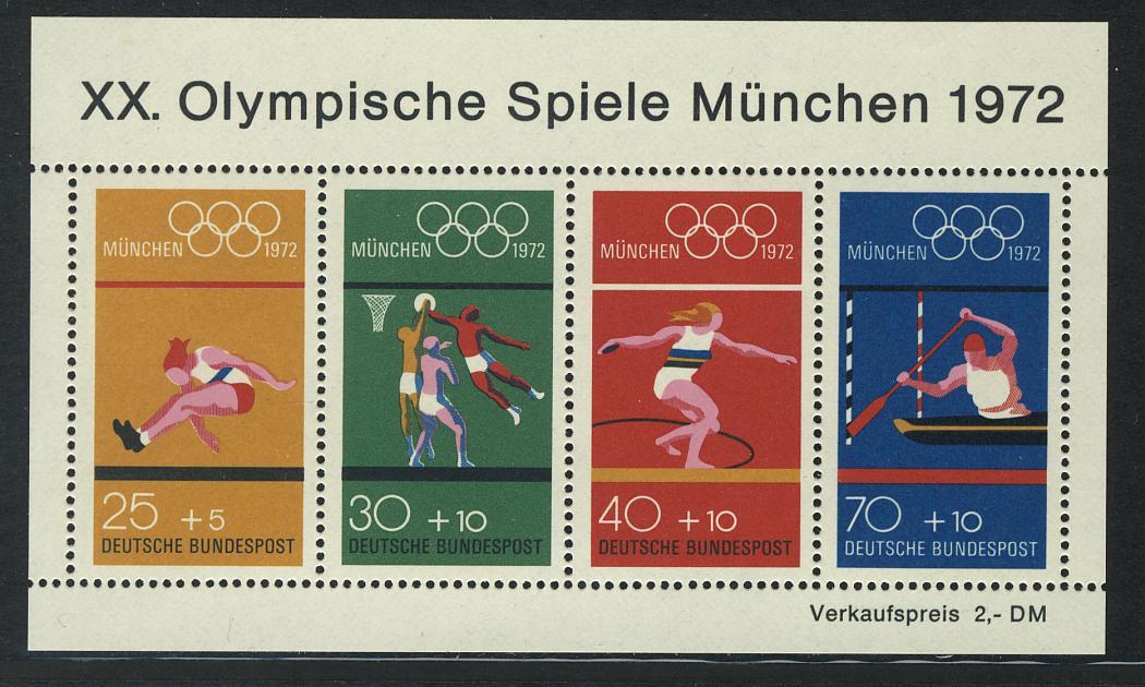Block 8 Olympische Spiele München 1972 - Sportarten, postfrisch ** 0