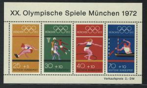 Block 8 Olympische Spiele München 1972 - Sportarten, postfrisch **