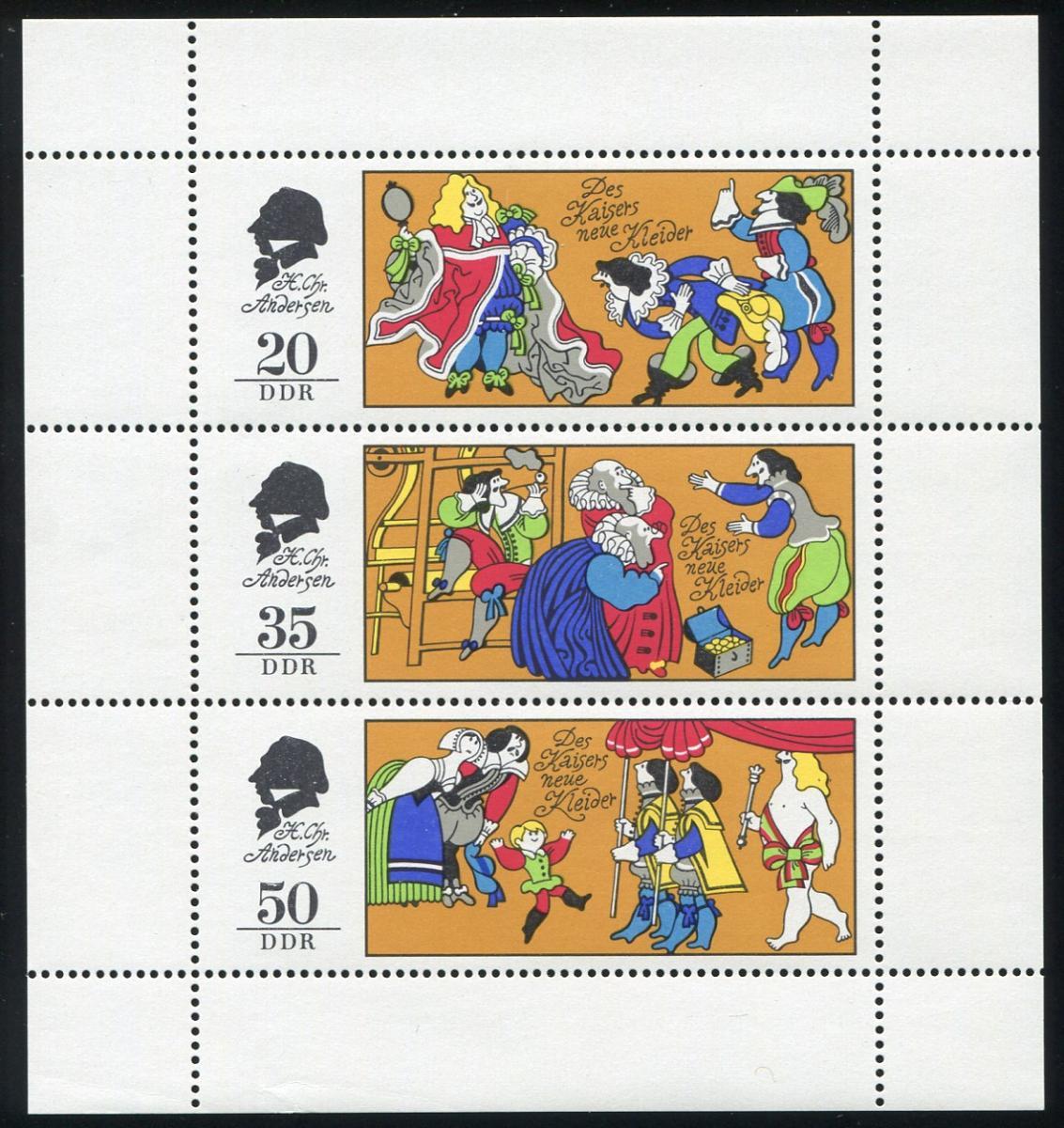 2096-2098 Märchen-Kleinbogen mit PLF 2098 schwarze Punkte, Feld 3, ** 1