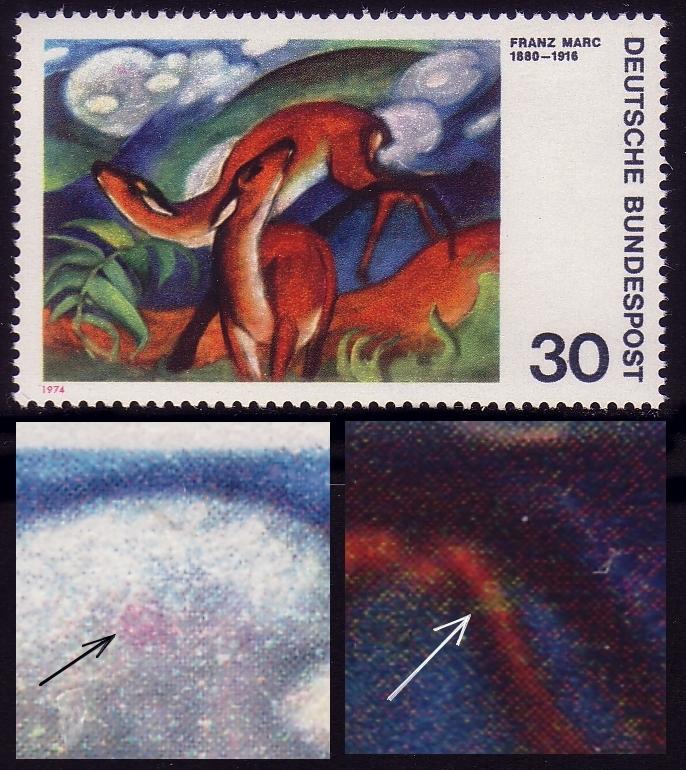 798 Expressionisten 30 Pf: roter Fleck und Beinbruch, Feld 3, ** 0