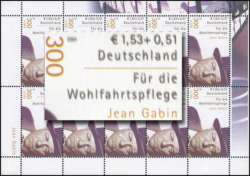 2222A Jean Gabin: Kleinbogen mit Doppeldruck der Farbe schwarz, postfrisch ** 0