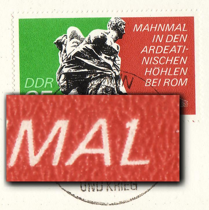 1981 Mahnmal 35 Pf: Punkt am L in MAHNMAL, F.25, auf MK 1