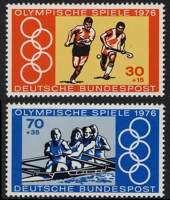 888-889 Einzelmarken aus Block 12 Olympiade, Feldhockey & Rudern, Satz ** 0