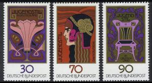 923-925 Einzelmarken aus Block 14 Jugendstil, 3 Werte, Satz **