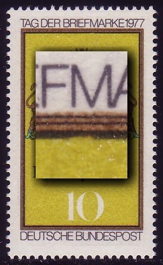 948I Tag der Briefmarke 1977 mit PLF I Rahmenkerbe unter M, Feld 32, ** 0