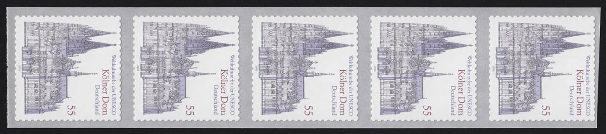 2330 Kölner Dom sk, 5er-Streifen UNGERADE Nummer, ** 0