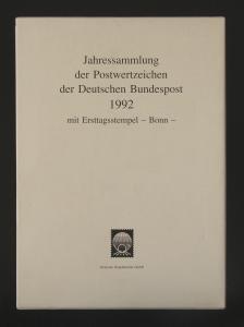 Jahressammlung Bundesrepublik von 1992, mit Ersttagssonderstempel