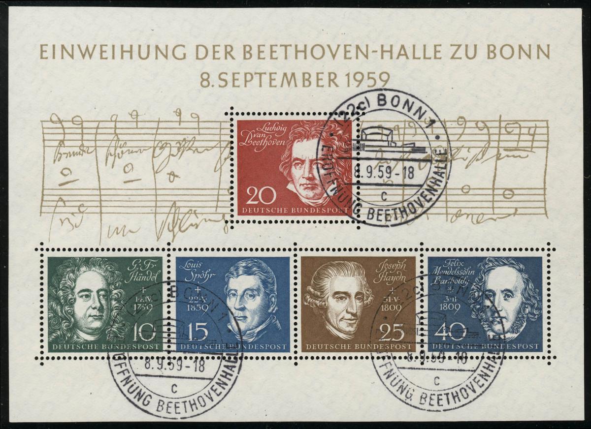 Block 2 Beethovenhalle 1959, ESSt Bonn, 3x Buchstabe  c 0