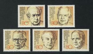1156-1160 Einzelmarken aus Block 18 Bundespräsidenten, 5 Werte, Satz **