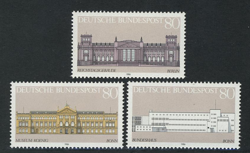 1287-1289 Einzelmarken aus Block 20 Demokratie - Gebäude, 3 Werte, Satz ** 0