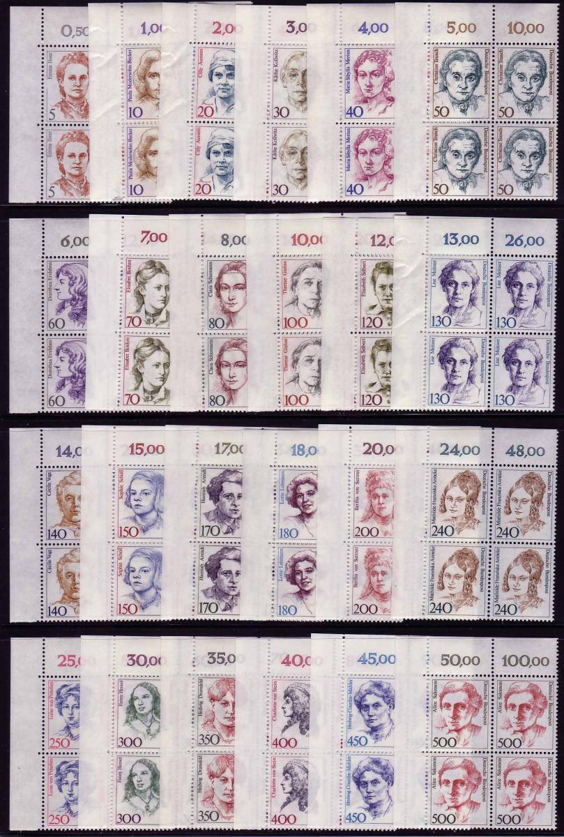 1304 ff Frauen, 24 Werte aus 100er-Bogen, ER-Vbl. o.l. Satz ** 0