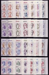 1304 ff Frauen, 24 Werte aus 100er-Bogen komplett, ER-Vbl. o.r. Satz **