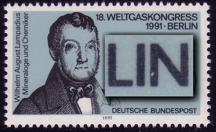 1537 Weltgaskongreß 60, Plattenfehler Loch im N von BERLIN, ** 0