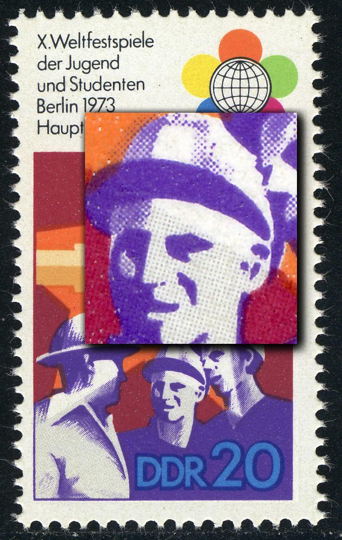 1864I Weltfestspiele 20 Pf: dunkler Fleck am Ohr des mittleren Mannes, **  0