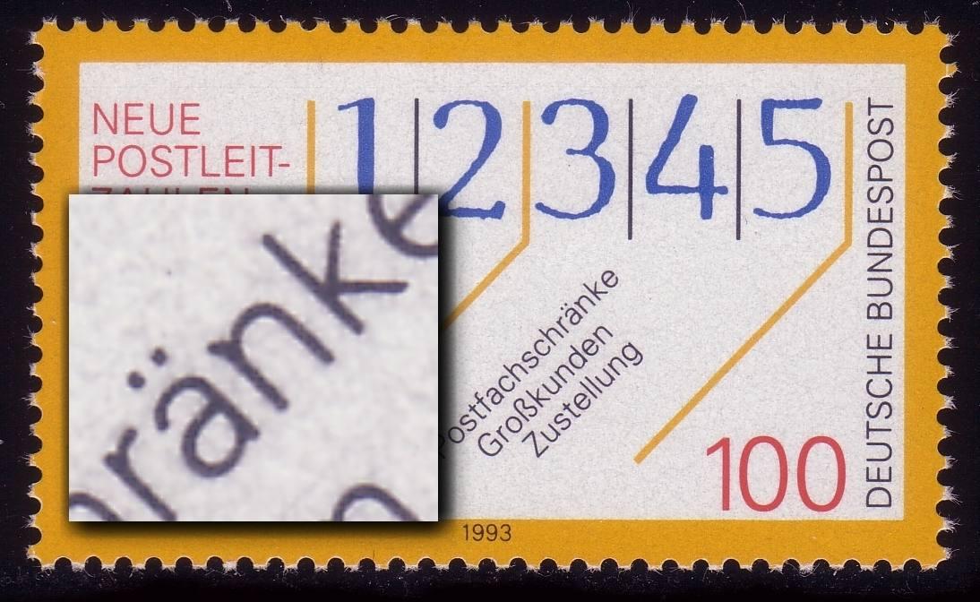 1659 PLZ: Strich links oben am n von -schränke, auf verschiedenen Feldern ** 0