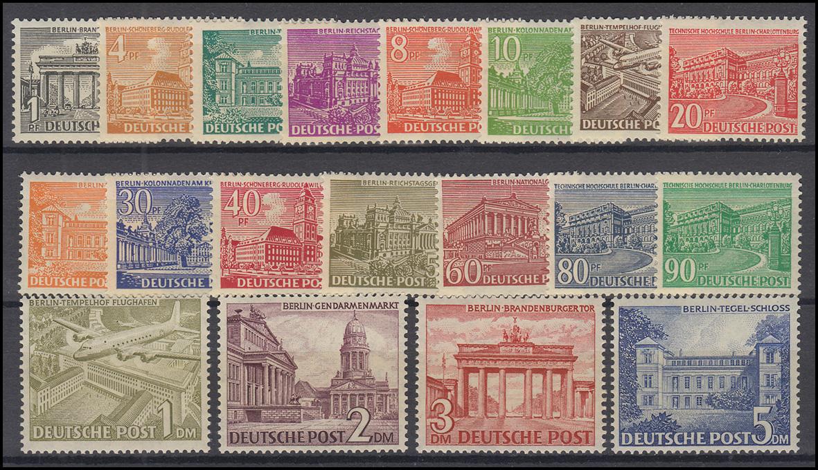 42-60 Berliner Bauten 1949, 19 Werte, Satz **, FA Schlegel BPP einwandfrei 0