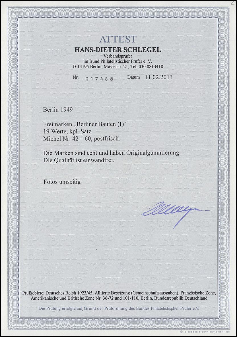 42-60 Berliner Bauten 1949, 19 Werte, Satz **, FA Schlegel BPP einwandfrei 1