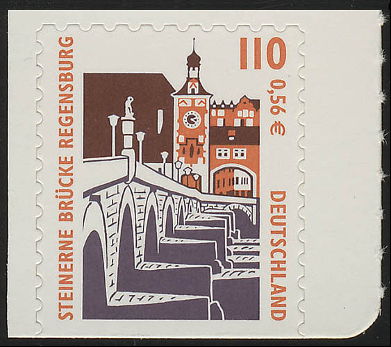 2189BD SWK 110 Pf/0,56 Euro unten geschnitten sk Steinerne Brücke Regensburg, ** 0
