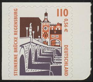 2189BD SWK 110 Pf/0,56 Euro unten geschnitten sk Steinerne Brücke Regensburg, **