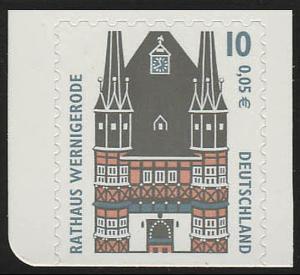 2187BD SWK 10 Pf/0,05 Euro unten geschnitten sk Rathaus Wernigerode, **