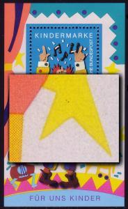 Block 27 Für uns Kinder 1993 mit PLF 2 schwarze Punkte im linken oberen Stern **