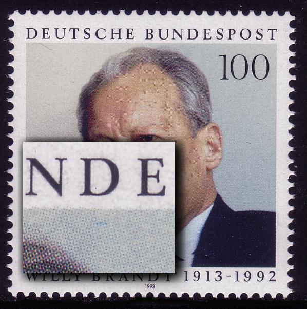 1706 Willy Brandt mit PLF Strich unter D von BUNDESPOST, Feld 11, ** 0