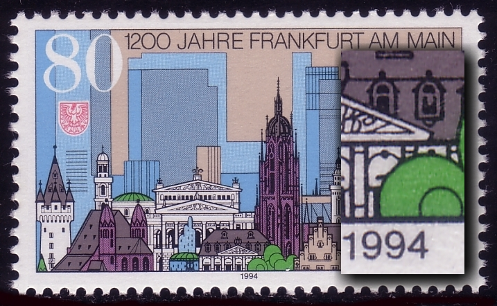 1721 Frankfurt mit PLF: fehlende obere Hälfte beim rechten Fenster, ** 0