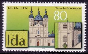 1722V Fulda: schwarzer Fleck über d und im Turm, F.28 **
