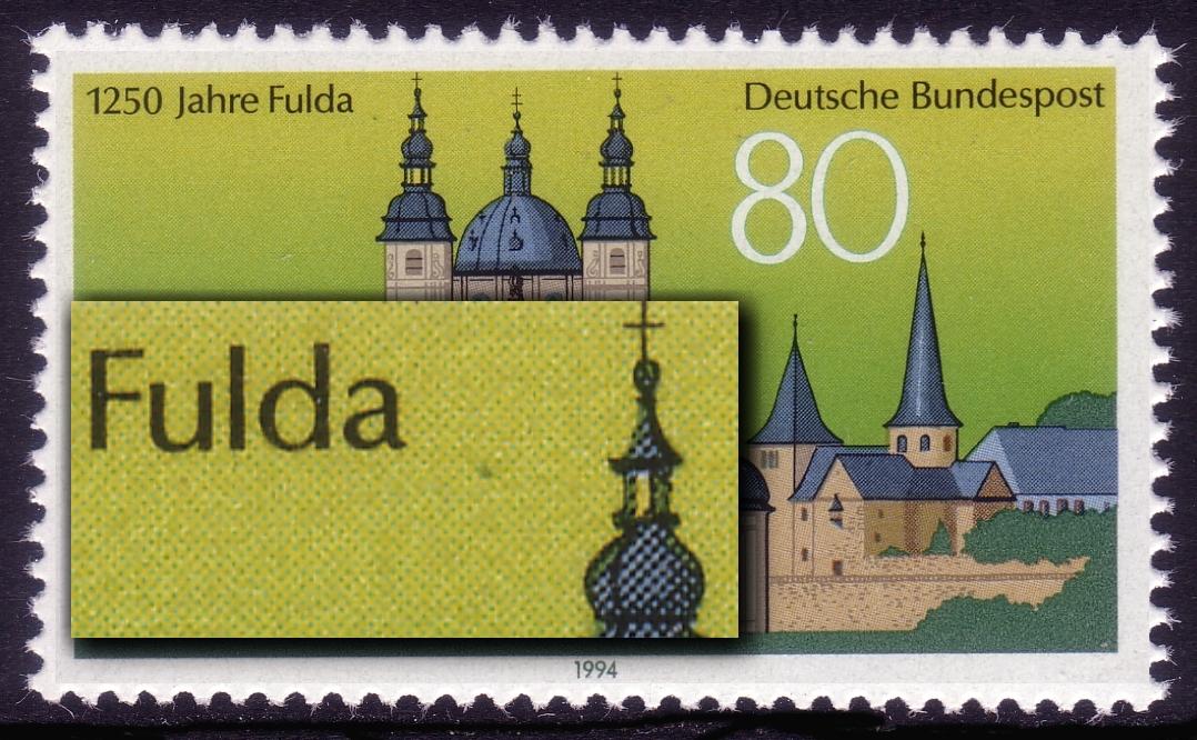 1722 Fulda: Fleck zwischen Fulda und Turm, Feld 19 ** 0