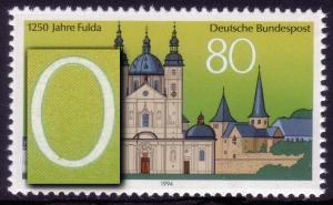 1722 Fulda: gelber Fleck unten in der Null, Feld 6 **