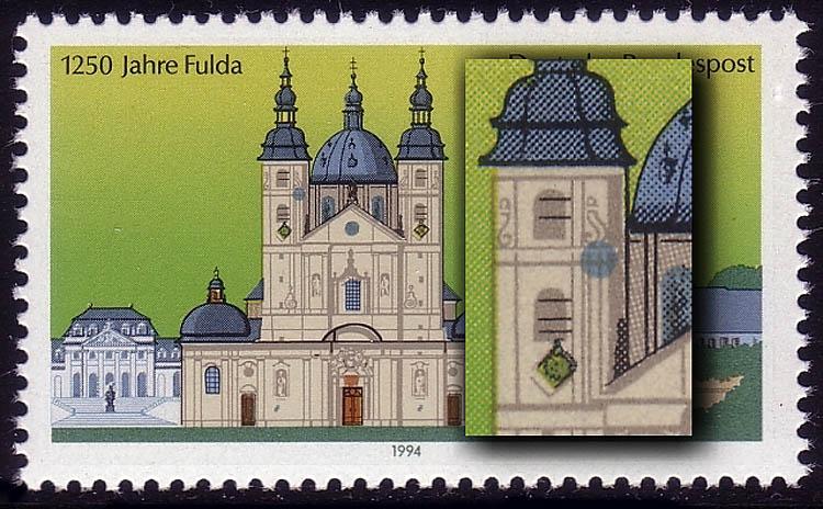1722II Fulda, blauer Fleck im linken Turm, Feld 18, postfrisch ** 0